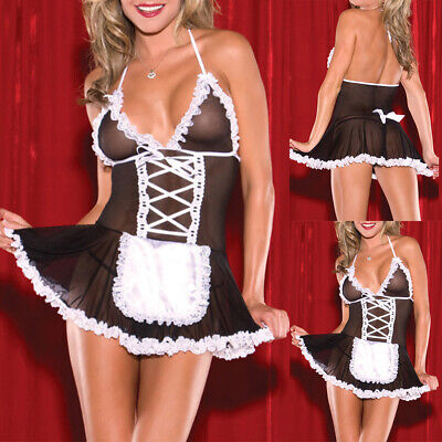 £2.09 • Buy Women French Maid Sexy Lingerie Mesh BDSM Cosplay Uniform Outfit Lace Up Dress