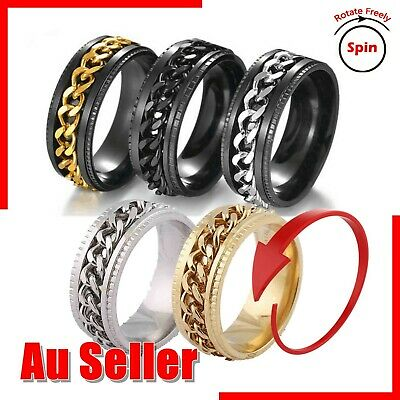 AU7.95 • Buy Anti-anxiety Spinner Fidget Rotating Chain Rings Men Women Band Stainless Steel