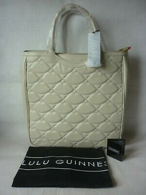 £119 • Buy Lulu Guinness Wanda Tote Bag LARGE Stone Leather + Quilted Lulu Hearts Logo NEW