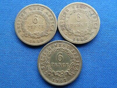 £5.99 • Buy SET OF 3 BRITISH WEST AFRICA SIXPENCE 6d COINS 1938 1942 1947
