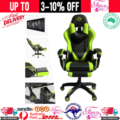 AU296.56 • Buy AUSELECT Gaming Chair Ergonomic Office Chair Racing Style Leather Green