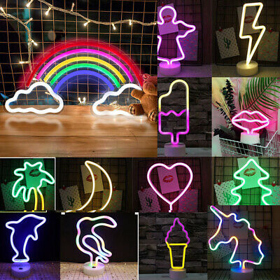 £10.15 • Buy LED Neon Night Light Signs Decor Table Lamps For Bedroom Christmas Party Home