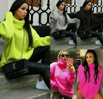 £13.99 • Buy Women Chunky Knitted Baggy Ladies Oversized Jumper High Polo Roll Neck Top Dress