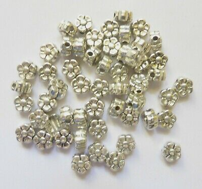 £2.25 • Buy Metal Spacer Beads - Daisy Flower - Silver - 5.2mm/1mm Hole - Pack Of 30