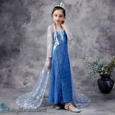 AU11.95 • Buy Girls Frozen Elsa Cotton Costume Party Birthday Tulle Fluffy Dress Size 3-7Years