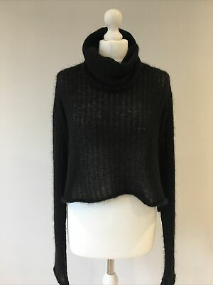 £45 • Buy SARAH PACINI Long Sleeve Black Roll Neck Knit Ribbed Cropped Jumper One Size