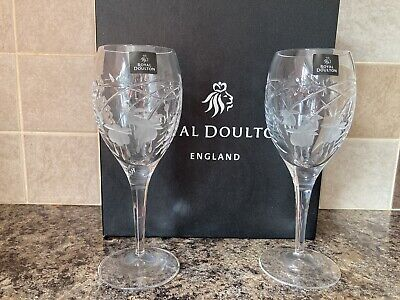 £20 • Buy Pair Of Fine Lead Crystal Royal Doulton Wine Glasses - Boxed Brand New