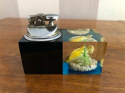 £39.99 • Buy Vintage 1950s Dunhill Style Aquarium Oversized Perspex Chrome Table Lighter