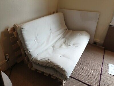 £55 • Buy Hardly Used 2 Seat Sofa / Futon Mattress - Pull Out Bed - Natural Calico Finish