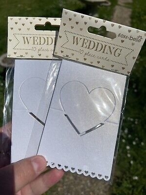 £18 • Buy Job Lot Sass And Belle Wedding Place Card Settings White Name Cards Heart Theme