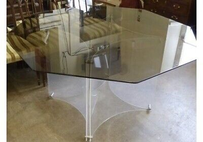 £679.99 • Buy 70's Vintage Octagonal Glass Lucite Dining Table