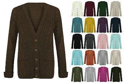 £9.99 • Buy Women Ladies Cable Chunky Knit Cardigan Button Long Sleeves Grandad Cardigan