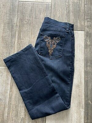 £15.99 • Buy Not Your Daughters Jeans NYDJ Dark Blue Straight Jeans Sequin Pockets Size UK12