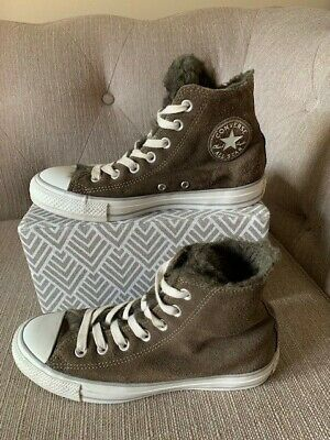 £24.50 • Buy Converse All Star Chuck Taylor Hi Top - Brown Suede - Fur Lined - Size 5