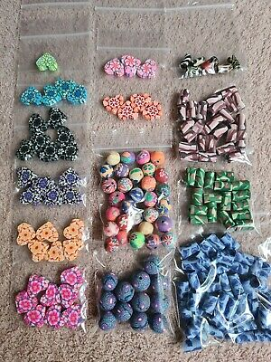 £4 • Buy Polymer Clay Beads Joblot Assortment Of Sizes Shapes & Colours, Jewellery Making