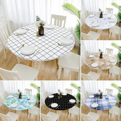 AU14.79 • Buy 1Pc Tablecloth Round Fitted Elastic Waterproof Oilproof Home Dining Table Cover