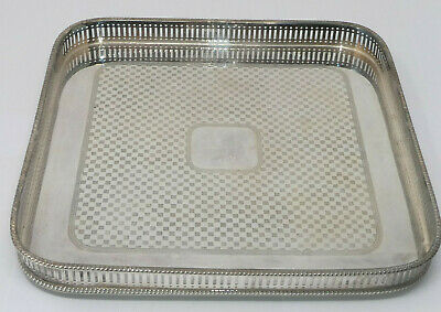 £23 • Buy Vintage Square Gallery Tea Serving Drinks Tray Silver Plated