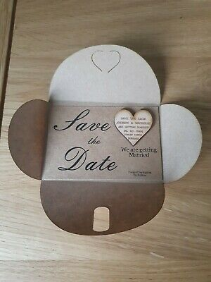 AU18.53 • Buy E9 Save The Date Wooden Magnets PERSONALISED  Rustic Heart Save The Date Cards