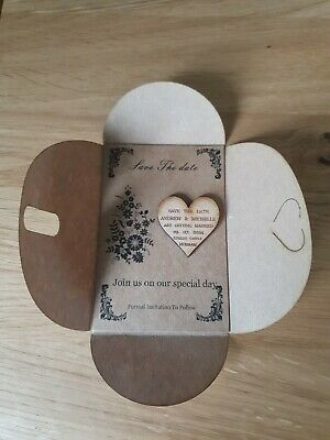 AU18.53 • Buy E11 Save The Date Wooden Magnets PERSONALISED  Rustic Heart Save The Date Cards