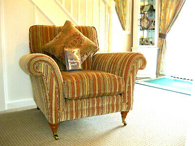 £599 • Buy  Parker Knoll Burghley Arm Chair In Baslow Stripe Gold Fabri.RRP£1195