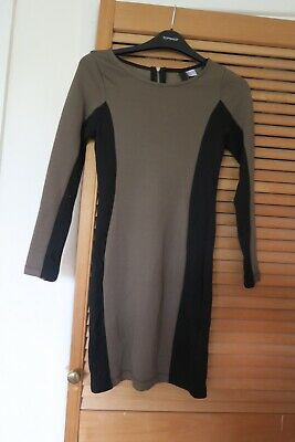 £5.95 • Buy H&M Khaki Black Bodycon Dress Detail Sides Size S 8 10 Party Stretchy Work Event