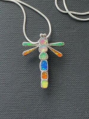 £28.99 • Buy 925 Sterling Silver - Native American  Zuni Signed Dragonfly Gemstone Necklace