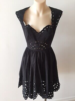 AU69 • Buy Mint Alice Mccall Black Cotton Lined Fit Flare Broderie Anglaise Dress Sz 8 - 6