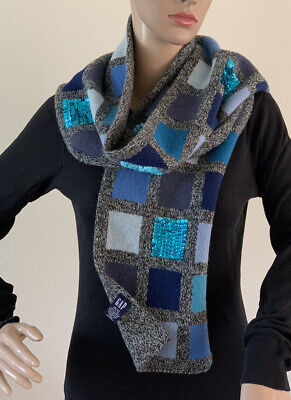 £28.56 • Buy Vintage GAP Lambswool Long Wool Reversible Scarf Shawl Stole Sequins Holiday