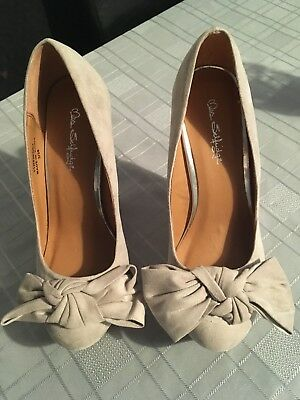 £14.95 • Buy Miss Selfridge Nude Faux Suede Wedge Shoes Size 3 Bow Front