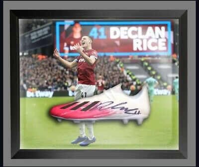 £175 • Buy Declan Rice Hand Signed West Ham Football Boot Presented In A Dome Frame £175