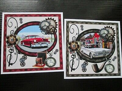£1.25 • Buy NEW ===  2 X VINTAGE CAR Card Toppers  --- Great For Male Cards