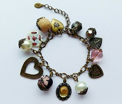 £0.99 • Buy Accessorize Hearts And Beads Charm Bracelet