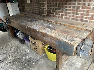 £225 • Buy 10ft Vintage Carpenters Workbench With 2 Working Vices