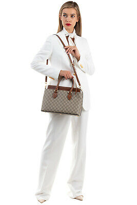 AU479.62 • Buy RRP €1520 GUCCI Tote Bag GG Logo Pattern Zip Closure Structured Made In Italy