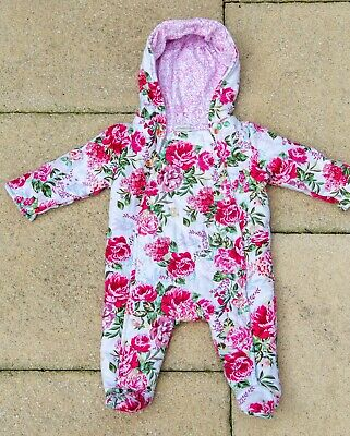 £5 • Buy 0-3 Months Monsoon Baby Girl's Floral Pink Pramsuit / Snowsuit, Cotton