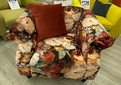 £279 • Buy Patchwork Velvet Orange Floral 1 Seater Avici Shout Sofa With Accent Cushion