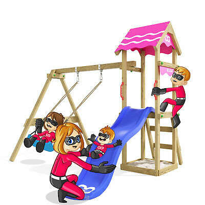 £455.99 • Buy Wooden Climbing Frame Fast Heroows - Swing Set With Blue Slide And Sandpit