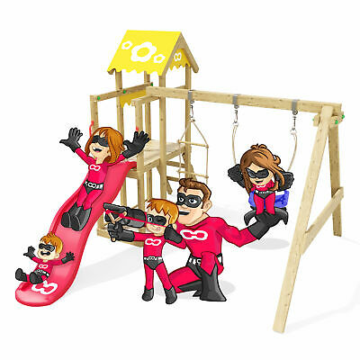 £539.99 • Buy Wooden Climbing Frame Caring Heroows - Swing Set With Red Slide And Sandpit