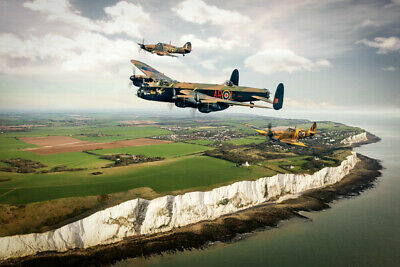 £12.99 • Buy Lancaster Spitfire Canvas Print. BBMF White Cliffs Poster/Canvas Free Delivery