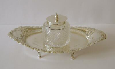 £16 • Buy A Sterling Silver & Cut Glass Inkwell On A Sterling Silver Tray Sheffield 1899
