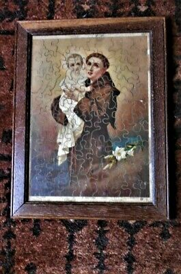 £7.95 • Buy VINTAGE,USUAL FRAMED QAK  JIGSAW PUZZLE Of S. ANTON, SIGNED. 12.5 X 9.5