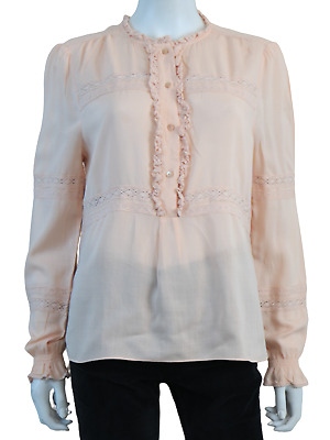 £45 • Buy ME + EM Broderie Voile Blouse 14 Embroidered Shirt Long Sleeve Viscose Peach £95