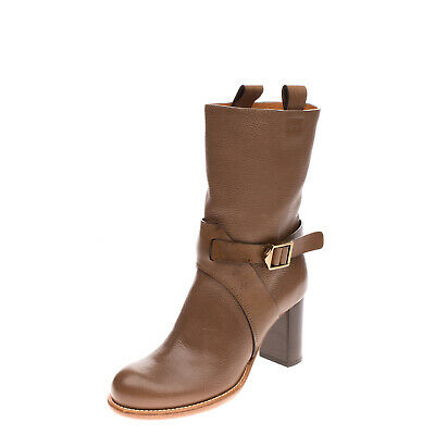 £28 • Buy RRP €1050 CHLOE Leather Ankle Boots Size 38 UK 5 US 8 Buckle Strap Made In Italy