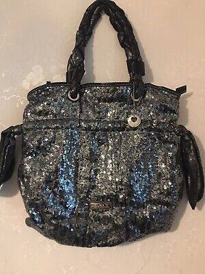 £14 • Buy Claudia Canova Silver And Pewter Sequin Large Women's Shoulder Bag Zip Closure