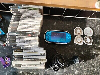 £100 • Buy Sony PSP Vibrant Blue - 3003 Model With Charger & Case & 28 Games Bundle Lot