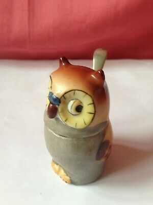 £1.99 • Buy Small French Pottery Mustard Pot And Spoon Owl Design