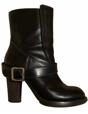 £95 • Buy Chloe - Brown Leather Ankle Boots With Buckle - Size 38