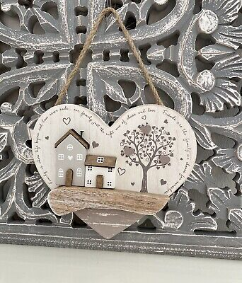 £8.95 • Buy Wooden Heart Hanging Plaque Driftwood Wooden Cottage Home Sweet Home Gift
