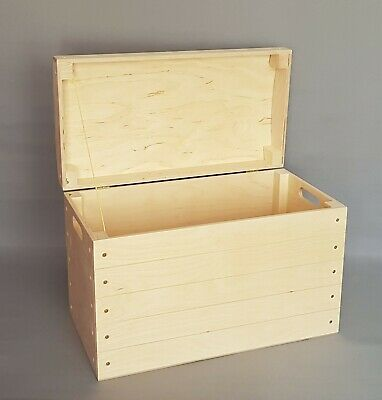 £49.99 • Buy Extra Large Wooden Trunk Storage Box With Lid Handles Toy Tool Keepsake Boxes