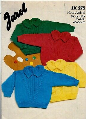 £0.85 • Buy Jarol DK, 4ply KNITTING PATTERN, Baby, Toddler Boy, Girl Cable And Rib Sweater